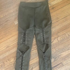 NEW olive green suede lace up pants size s